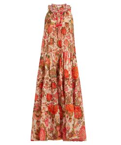 ANJUNA | -Print Tiered Cotton-Lawn Dress