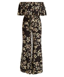Athena Procopiou | Wild Grace Off-The-Shoulder Silk Jumpsuit