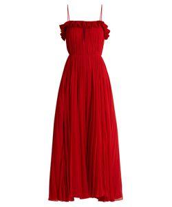 Adam Lippes   Ruffled Pleated-Chiffon Gown