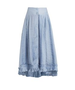 Thierry Colson | Romane Pleated Cotton And Silk-Blend Voile Skirt