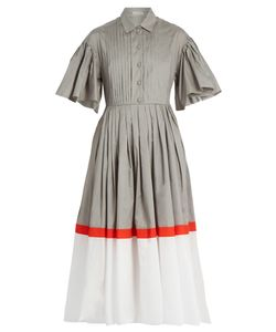Vika Gazinskaya | Tri-Colour Cotton-Poplin Dress