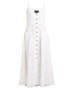 Saloni | Fara Broderie-Anglaise Cotton Midi Dress