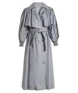 Vika Gazinskaya | Double-Breasted Faux-Leather Trench Coat
