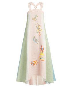 Peter Pilotto | Embroidered Striped Linen Halterneck Dress