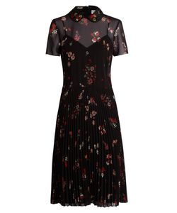 Red Valentino | Embellished-Collar Short-Sleeved Crepe Dress