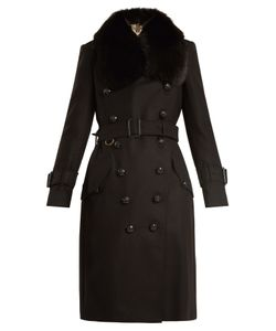 Burberry | Fur-Trimmed Belted Wool-Blend Coat