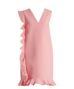 MSGM | Deep V-Neck Asymmetric-Ruffled Crepe-Cady Dress