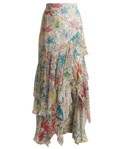 Peter Pilotto | Asymmetric Print Silk-Georgette Skirt