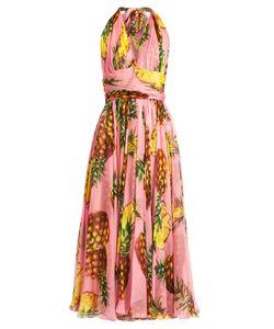 Dolce & Gabbana   Pineapple-Print Silk-Chiffon Halterneck Dress