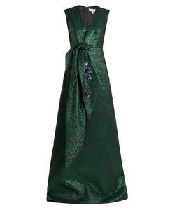 Delpozo | Embellished-Bow Polka-Dot Jacquard Gown