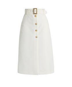Bella Freud   Fonda Button-Through Cotton-Blend Cady Midi Skirt