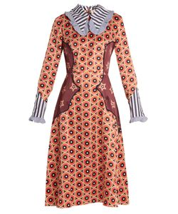 House Of Holland | Circle And Star-Print Point-Collar Midi Dress