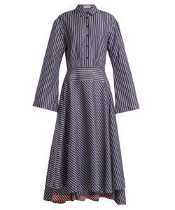 Teija | Point Collar Striped Cotton Dress