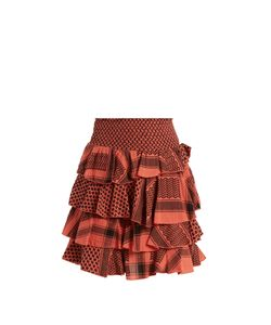 CECILIE COPENHAGEN | Tiered-Ruffle Scarf-Jacquard Cotton Mini Skirt