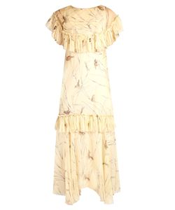 Marni | Bird-Print Raw-Edge Ruffled Chiffon Dress
