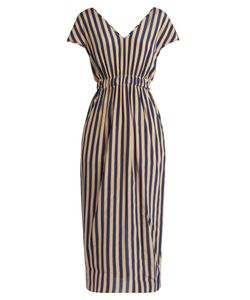 Fendi | V-Neck Striped Silk Crepe De Chine Dress