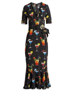 Dolce & Gabbana | Cocktail-Print Cady Midi Dress