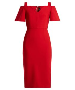 Roland Mouret | Alton Open-Shoulder Crepe Midi Dress