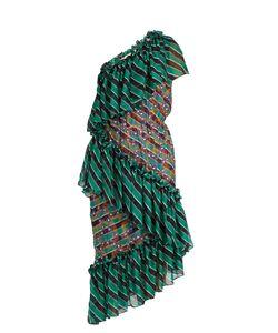 Marco De Vincenzo | Tiered Embroidered-Stripe Silk-Chiffon Dress