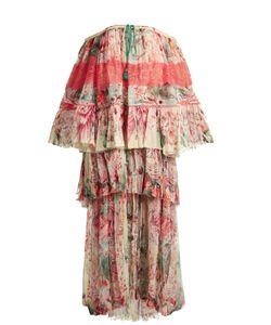 Roberto Cavalli | Phoenix-Print Tie Pleated Silk-Chiffon Gown