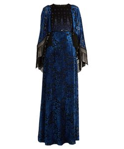 Andrew Gn | Embellished Cape-Sleeved Velvet-Devoré Gown