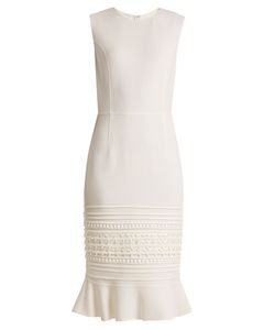 Oscar de la Renta | Macramé-Lace Embroidered Wool-Blend Crepe Dress