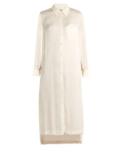 Raquel Allegra | Point-Collar Satin Shirtdress