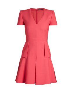 Alexander McQueen   V-Neck Peplum-Waist Cady Dress