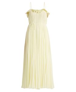 Adam Lippes | Ruffle-Trimmed Square-Neck Pleated Dress