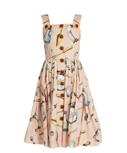 Dolce & Gabbana   Utensil-Print Cotton-Poplin Midi Dress