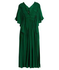 Rochas | Ruffle-Trimmed Open-Back Silk Dress