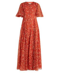 Valentino | Cyber Flower-Print Fluted-Sleeve Silk Gown