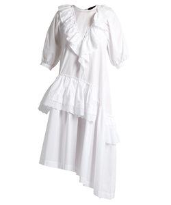 Simone Rocha | Asymmetric Ruffled Cotton-Poplin Dress