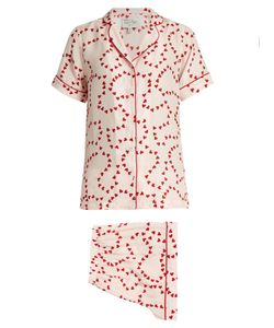 HVN | Alice String Of Hearts-Print Silk Pyjamas