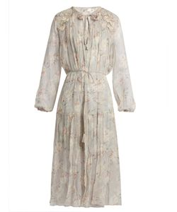 Zimmermann | Stranded Long-Sleeved Silk Midi Dress
