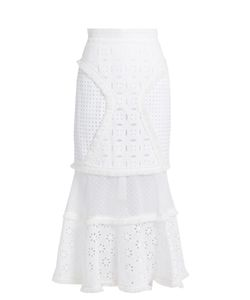 Andrew Gn | Broderie-Anglaise Panelled Cotton Skirt