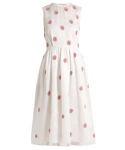 Jupe By Jackie | Grape Rose-Embroidered Cotton-Organdy Midi Dress