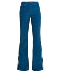 ROCKINS | High-Rise Cotton-Blend Corduroy Flared Trousers