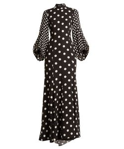 Andrew Gn | High-Neck Polka-Dot Print Balloon-Sleeve Silk Gown