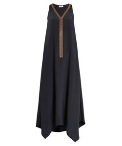 Brunello Cucinelli | Monili-Embellished Silk Dress