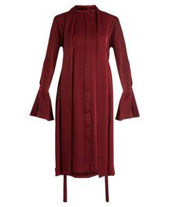 Ellery   Inez Drawstring Crepe-Back Satin Dress
