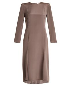 RAEY | Bracelet-Sleeve Pleat-Front Silk Dress