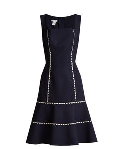 Oscar de la Renta | Ric-Rac Trimmed Wool-Blend Crepe Dress