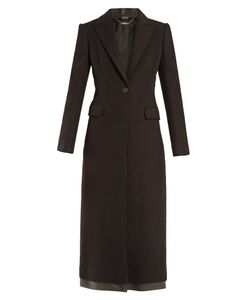 Alexander McQueen   Single-Breasted Leather Trim Cashmere Coat