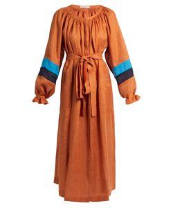 Vita Kin | Maldives Striped-Cuff Lightweight Linen Dress