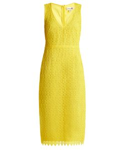 Diane Von Furstenberg | Deep V-Neck Macramé-Lace Midi Dress