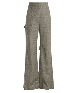 Sara Battaglia | Prince Of Wales-Checked Ruffle Wool-Blend Trousers