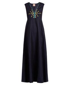 LE SIRENUSE, POSITANO | Astrid Embroidered Linen Maxi Dress