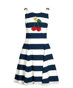 Dolce & Gabbana | Cherry-Embellished Striped Cady Dress
