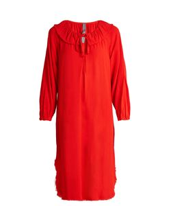Raquel Allegra | Frayed-Hem Long-Sleeved Crepe Dress